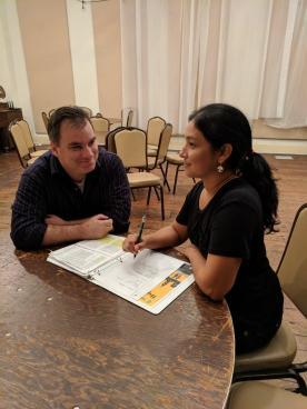 Kevin and Alejandra rehearsing